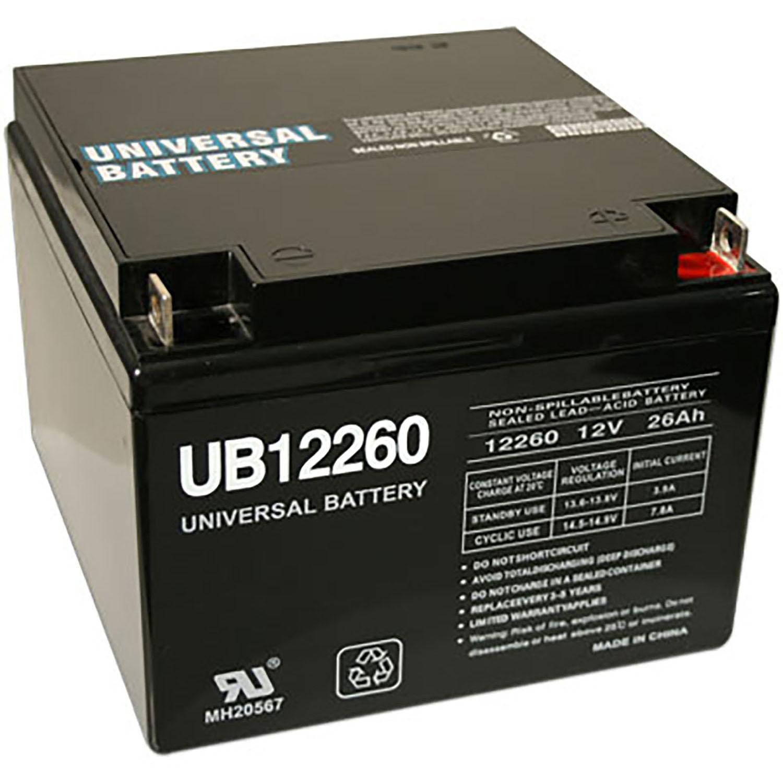 Compatible Love Lift Wheelchair Sealed Lead Acid Battery, Replaces Part Number UB12260-ER. Fits Models: Love Lift Emergi.Lite EMF4, Emergi.Lite 120, Emergi.Lite 120, Emergi.Lite 120, SL412V, GTO06T3, PE12V1.2, 400, 400, 400, DG12-24, Dual.Lite 12-749, CF1