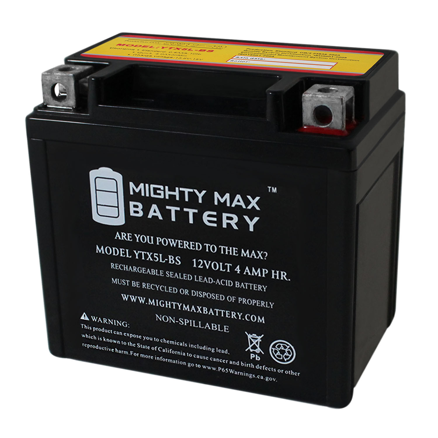 YTX5L-BS MOTORCYCLE BATTERY REPLACEMENT - 12V 4AH - 55 CCA