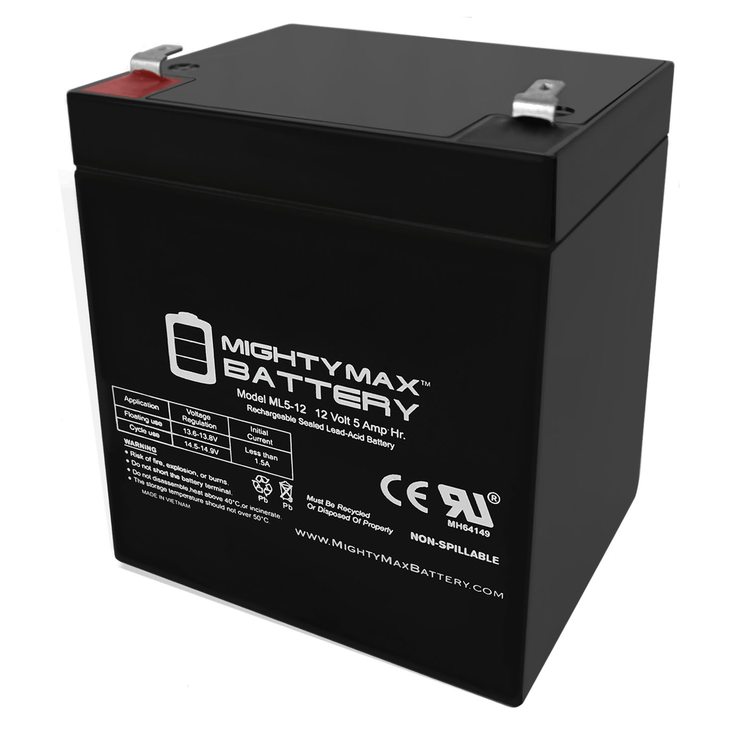 ML5-12 - 12V 5AH Replacement for MK ES5-12 Wheelchair Battery