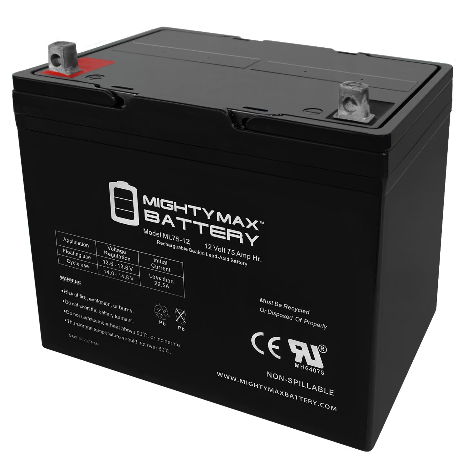 ML75-12 12V 75Ah Replacement Battery for Advanced Technology Wheelchair