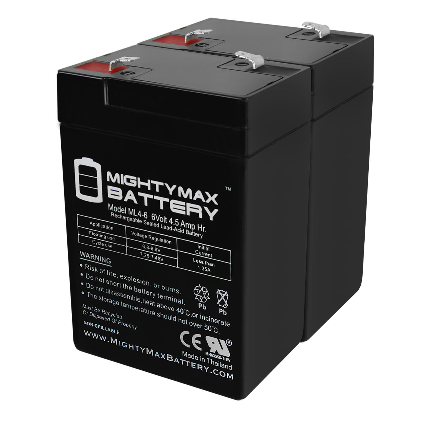 ML4-6 - 6V 4.5AH Peg Perego Replacement Battery - 2 Pack