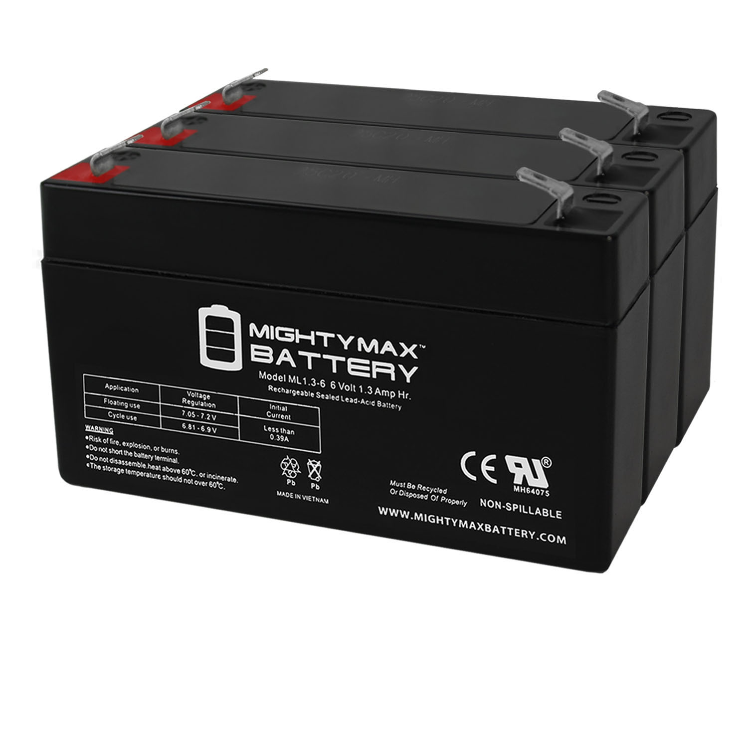 Replacement for PE6V1.2 Replacement Battery - 3 Pack
