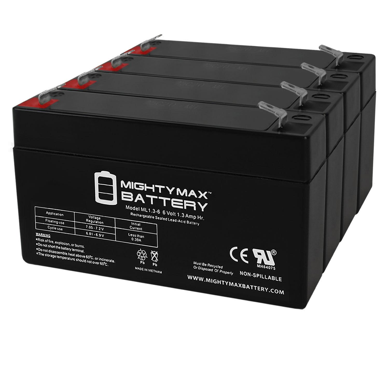 6V 1.3Ah BATTERY REPL. LEOCH DJW6-1.2 TEMPEST TR1.3-6 EACH - 4 Pack