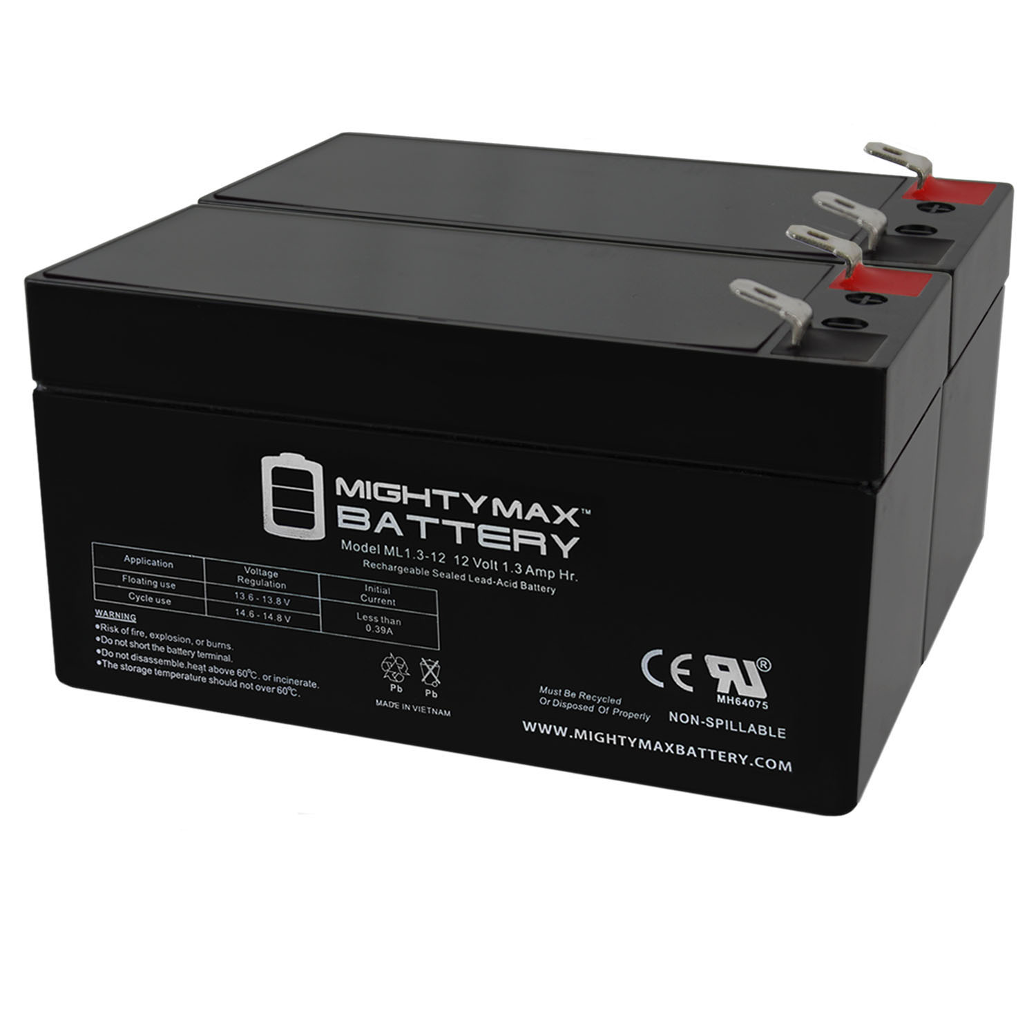 12V 1.3Ah Replacement Battery Compatible with Power Patrol SLA1005 - 2 Pack