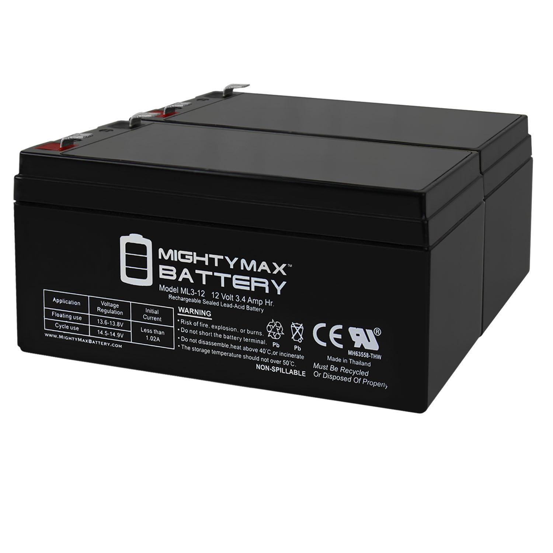 ML3-12 12V 3.4AH SLA Battery for Emergency Exit Lighting Systems - 2 Pack