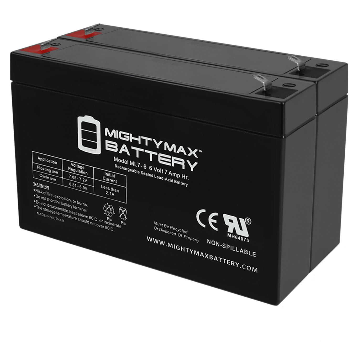 6V 7Ah Battery for Gallagher S17 Solar Fence Charger - 2 Pack