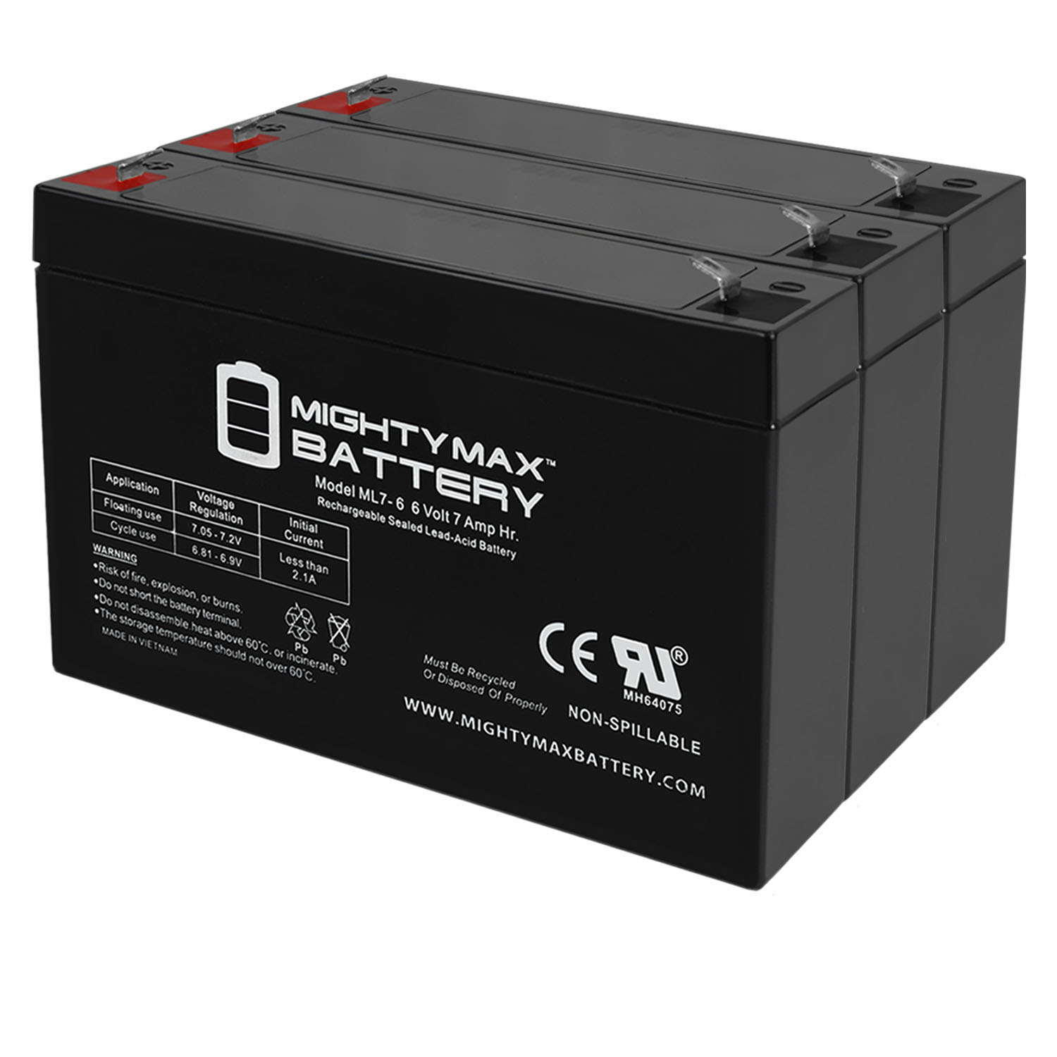 6V 7Ah SLA Battery Replacement for The KidTrax KT6V7AHBATT - 3 Pack