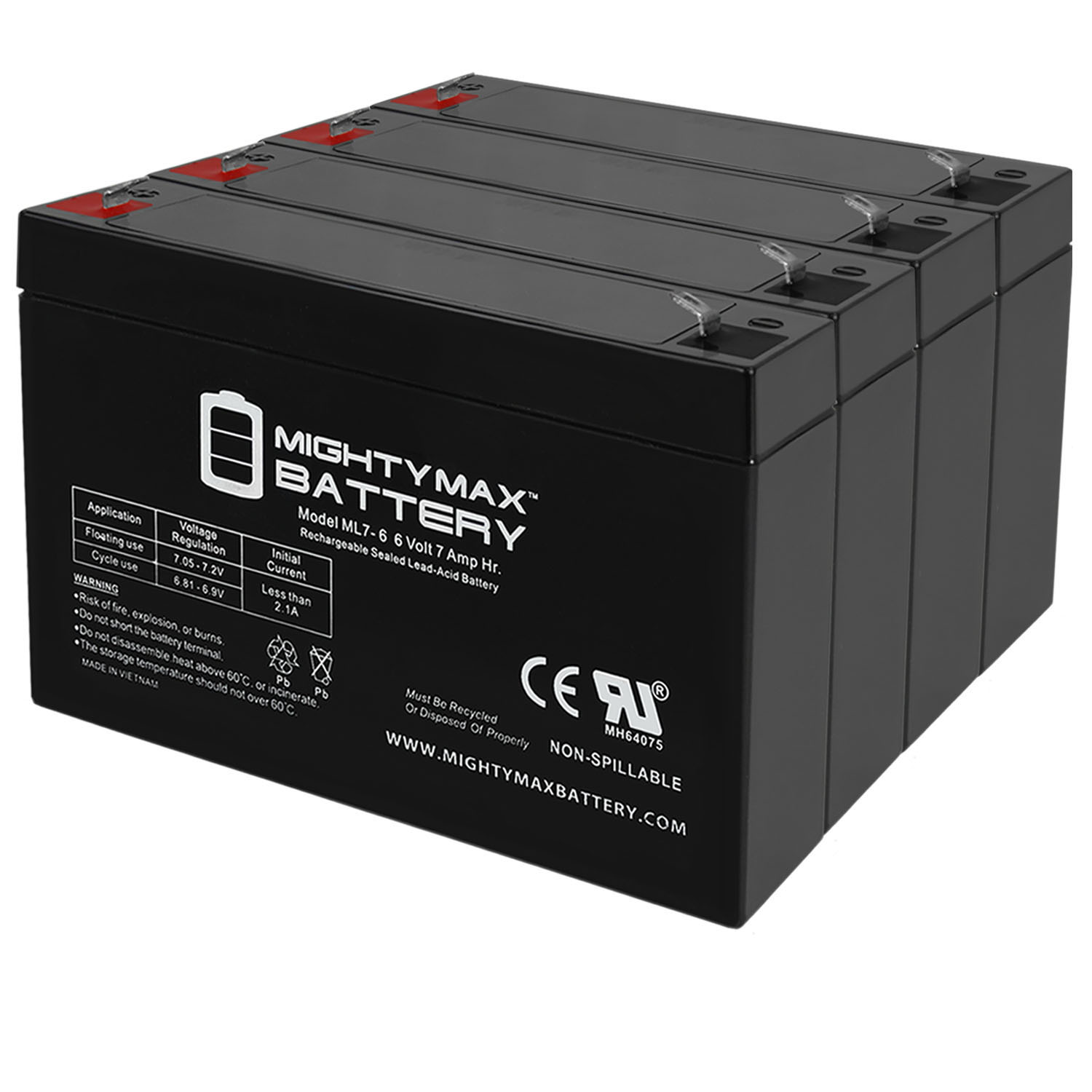 6V 7Ah SLA Battery Replaces Raymont Kids Ride On Power Car - 4 Pack