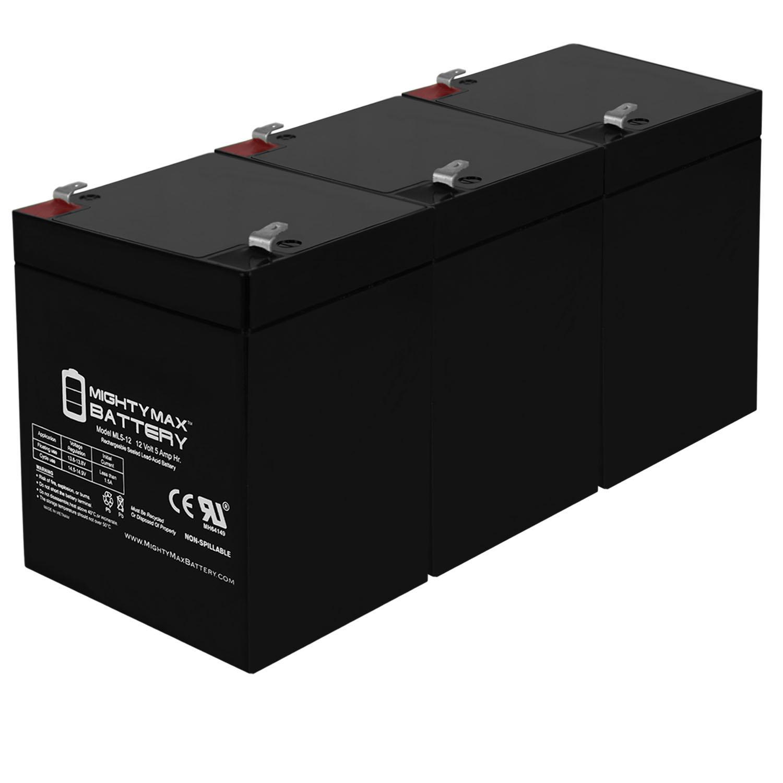 12V 5AH Sealed Lead Acid for Emergency Exit Lighting Systems - 3 Pack