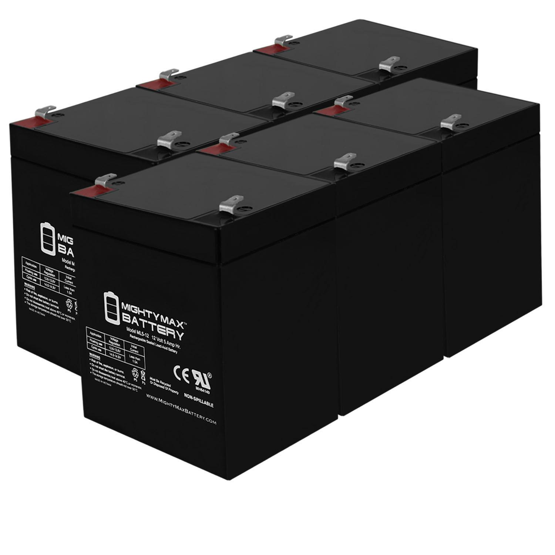 ML5-12 - 12V 5AH Emergency Exit Lighting Rechargeable SLA Battery - 6 Pack