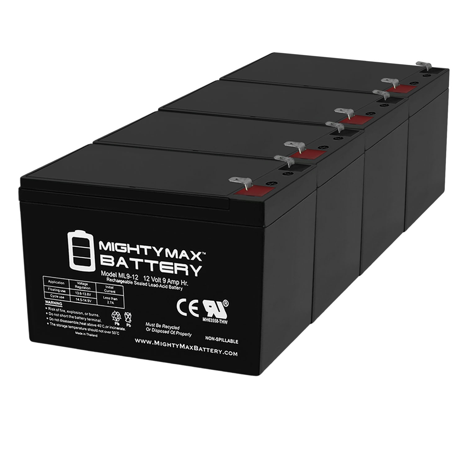 12V 9Ah Replacement Battery compatible with Panasonic LC-R127P1, LC-R127R2PG1 - 4 Pack