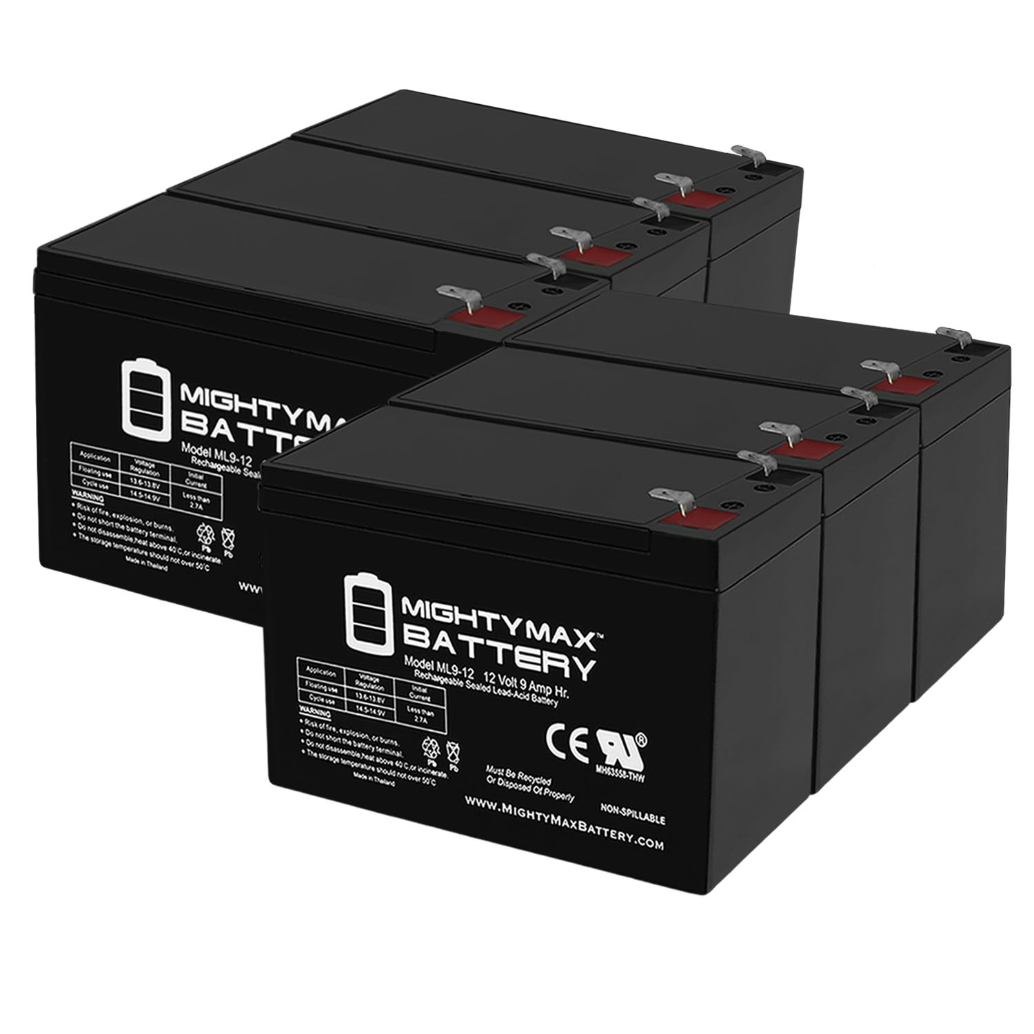 12V 9Ah Replacement Battery compatible with Panasonic LC-R127P1, LC-R127R2PG1 - 6 Pack