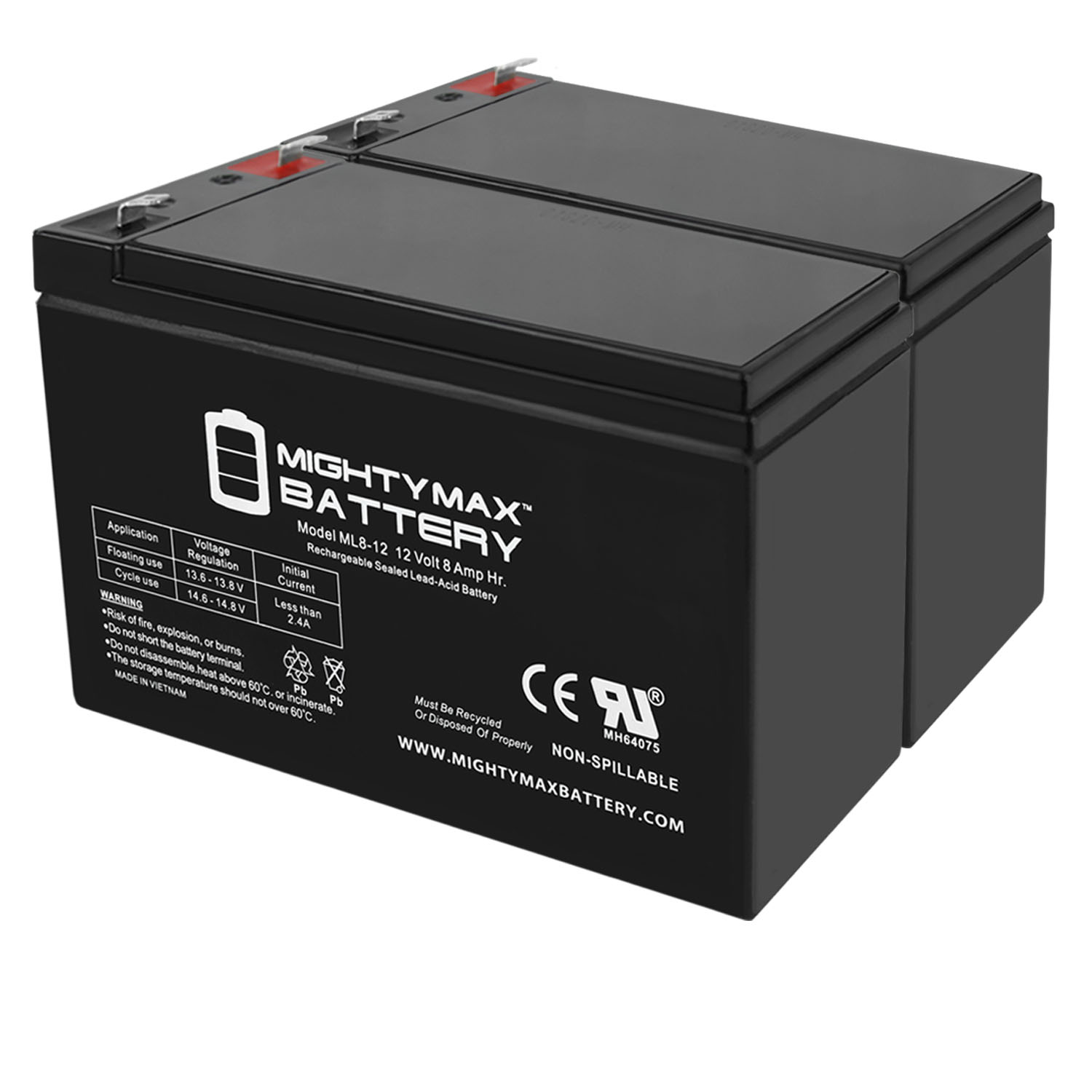 ML8-12 - 12V 8AH Replacement for Leoch Peg Perego DJW12-8HD Battery - 2 Pack