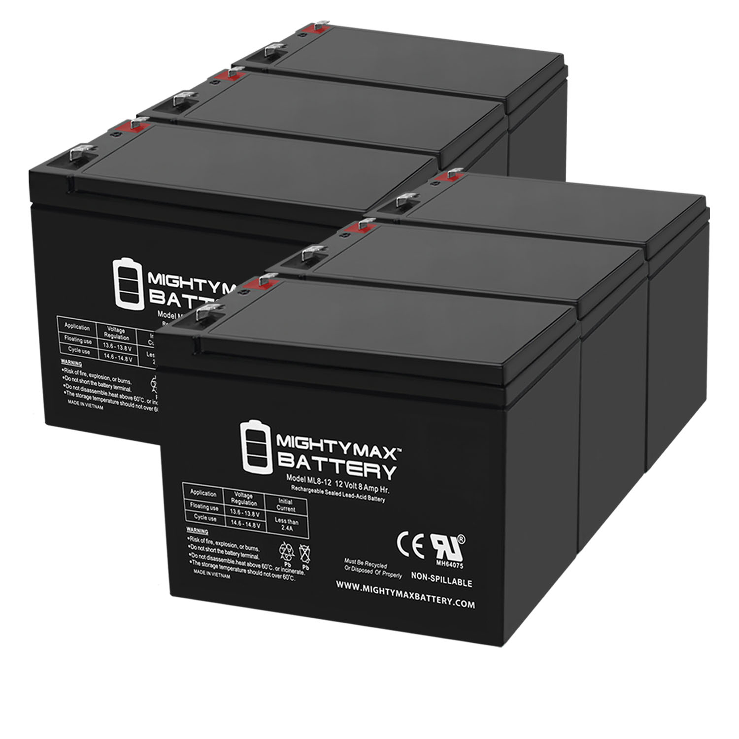 ML8-12 - 12V 8AH Replacement for Leoch Peg Perego DJW12-8HD Battery - 6 Pack