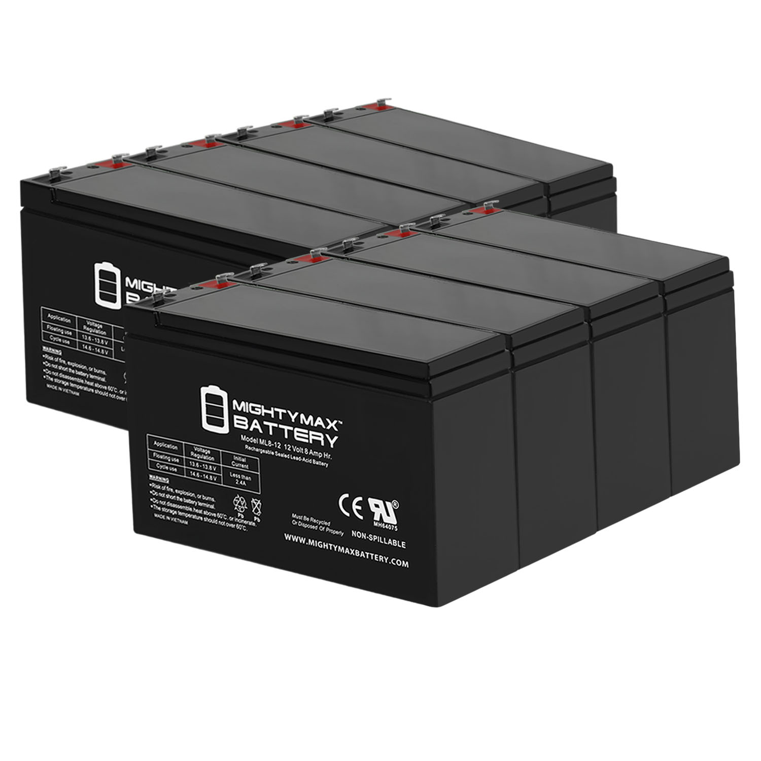 ML8-12 - 12V 8AH Replacement for Leoch Peg Perego DJW12-8HD Battery - 8 Pack