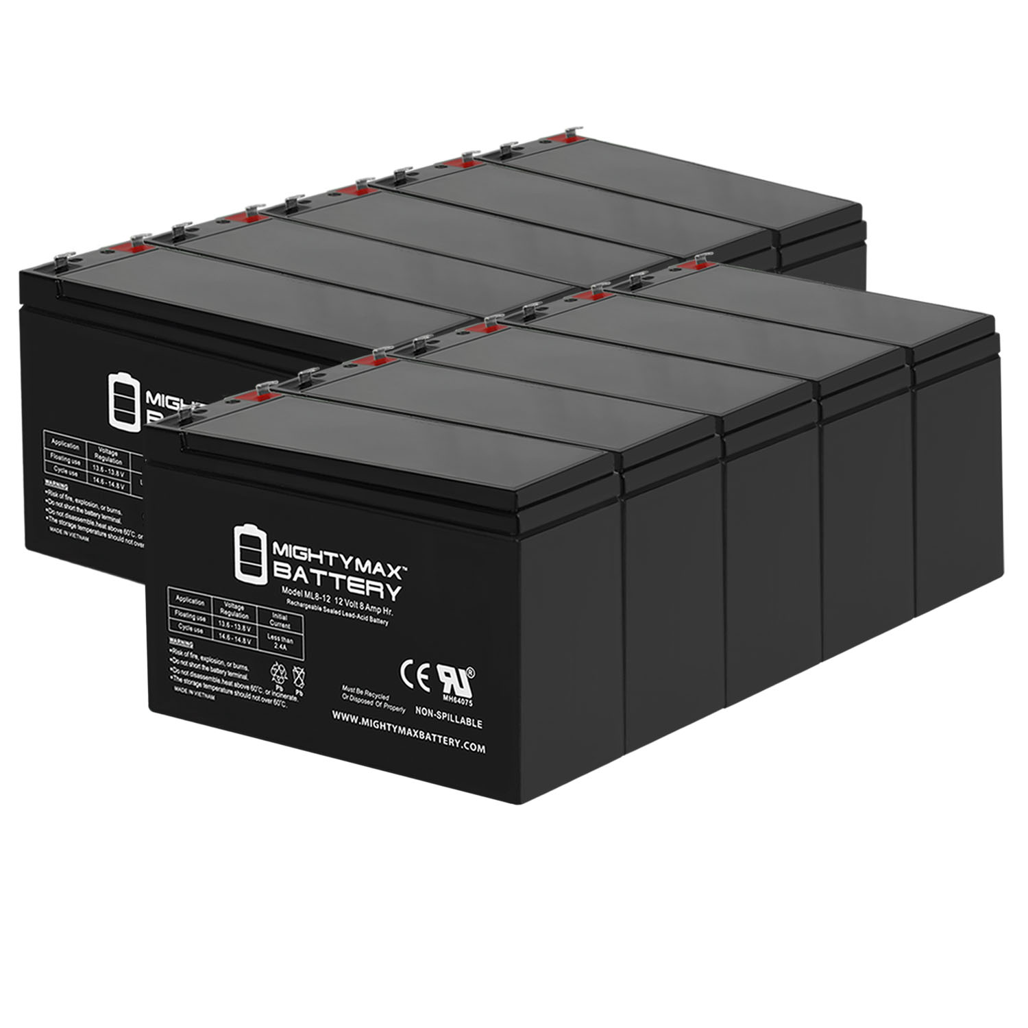 12V 8AH SLA Replacement Battery compatible with Interstate SLA1081 - 10 Pack