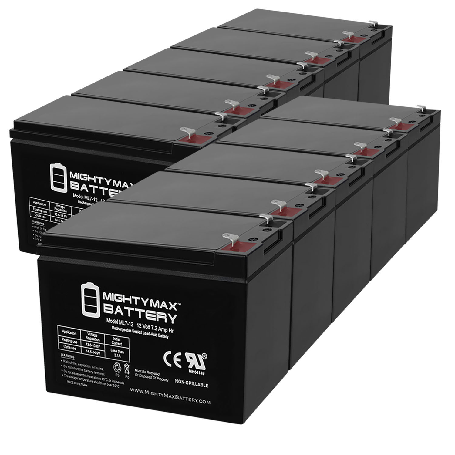 BATTERY REPL. LEOCH DJW12-7 12V 7AH .187 INCH FASTON - 10 Pack