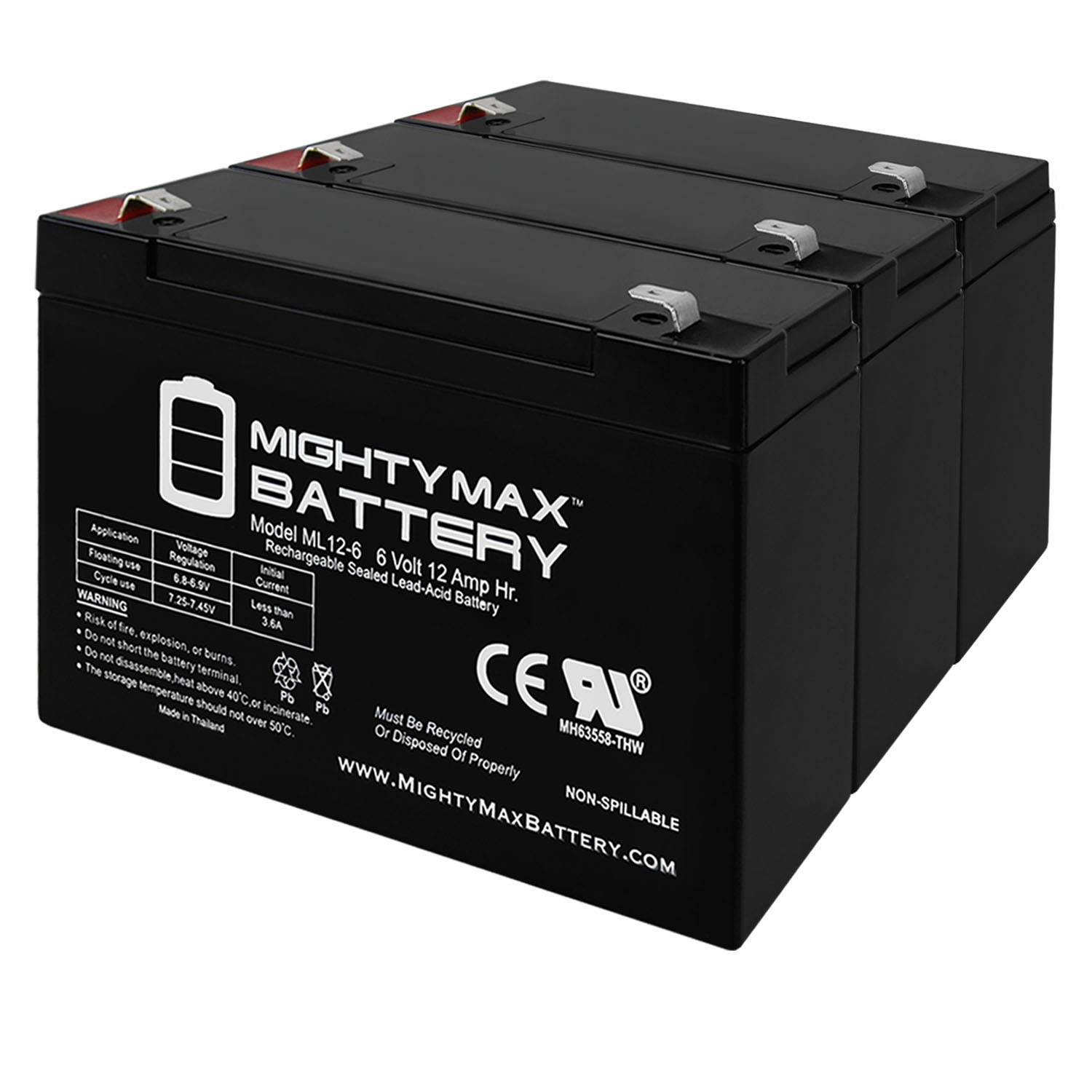 6V 12AH F2 Battery for Zareba Solar Low Impedance Charger - 3 Pack