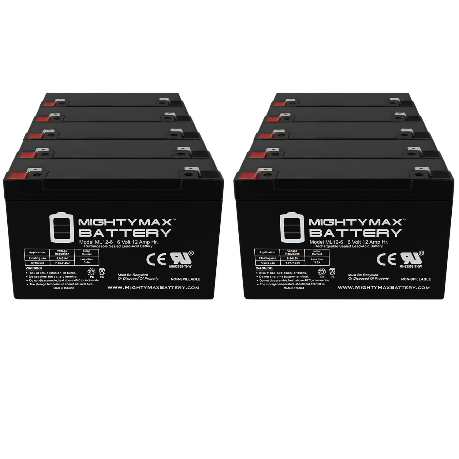 6V 12AH F2 Battery for Zareba Solar Low Impedance Charger - 10 Pack