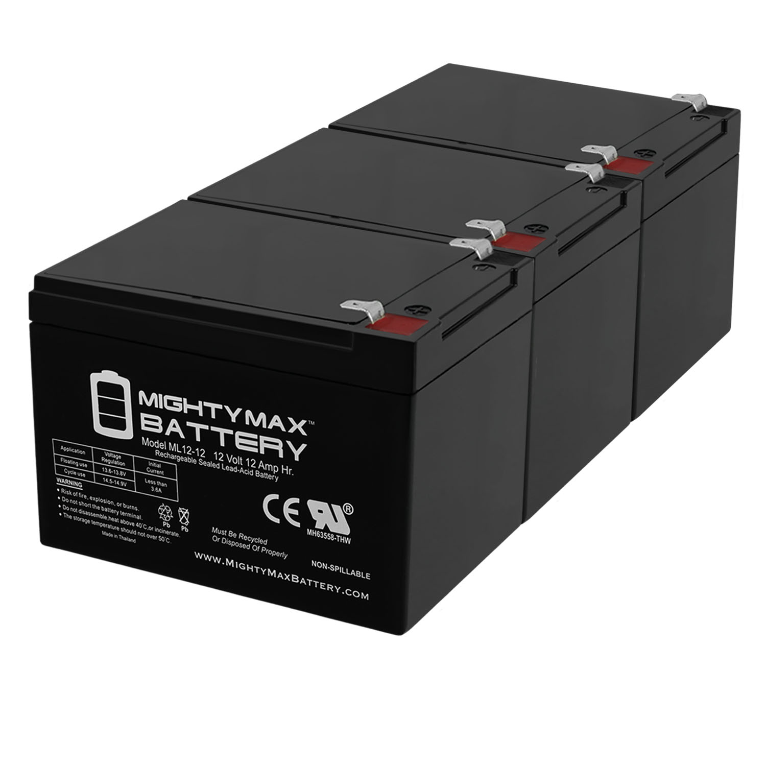 12V 12AH SLA Replacement Battery for MK ES12-12TE Patriot - 3 Pack