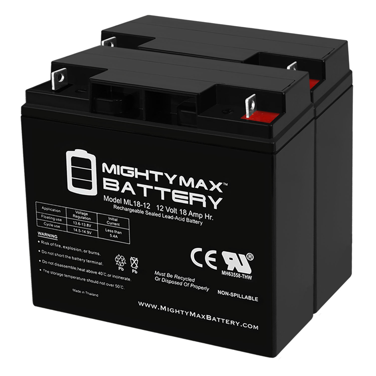 12V 18AH Battery for Door King 6400 10W Solar Control Box - 2 Pack