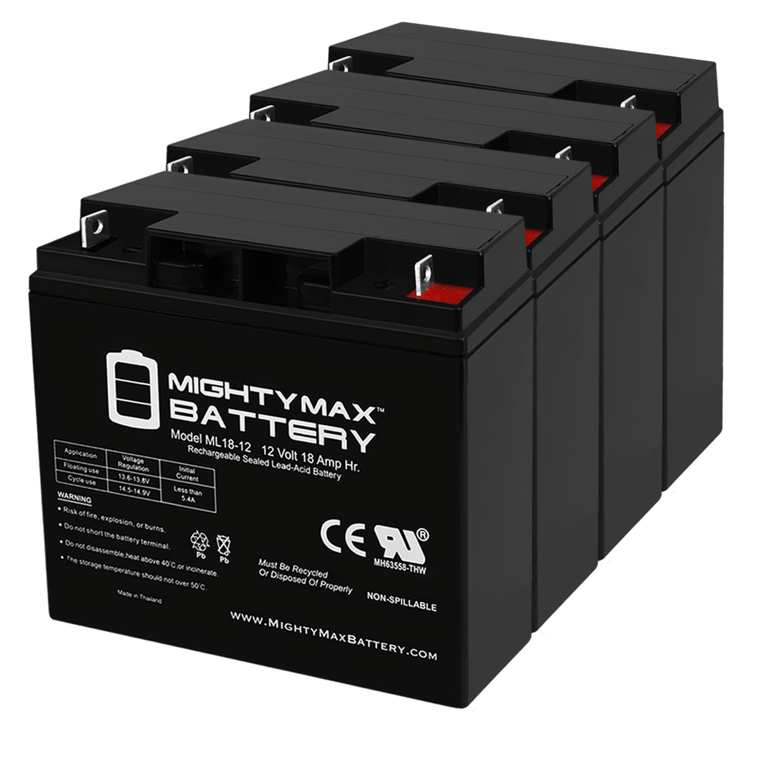 12V 18AH Battery for Door King 6002 10W Solar Control Box - 4 Pack