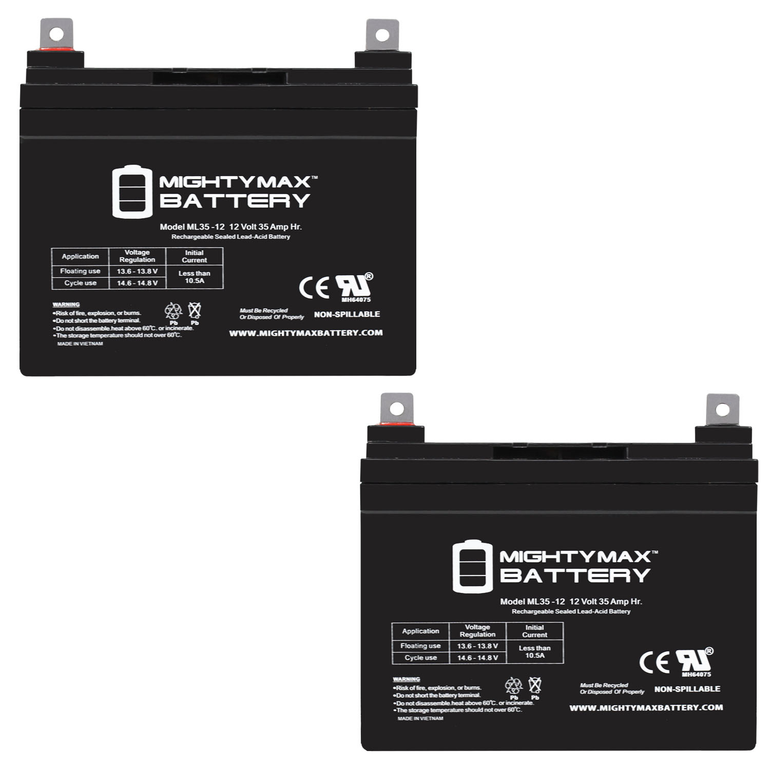 12V 35AH SLA Battery for Doorking 6002 20W Solar Control Box - 2 Pack