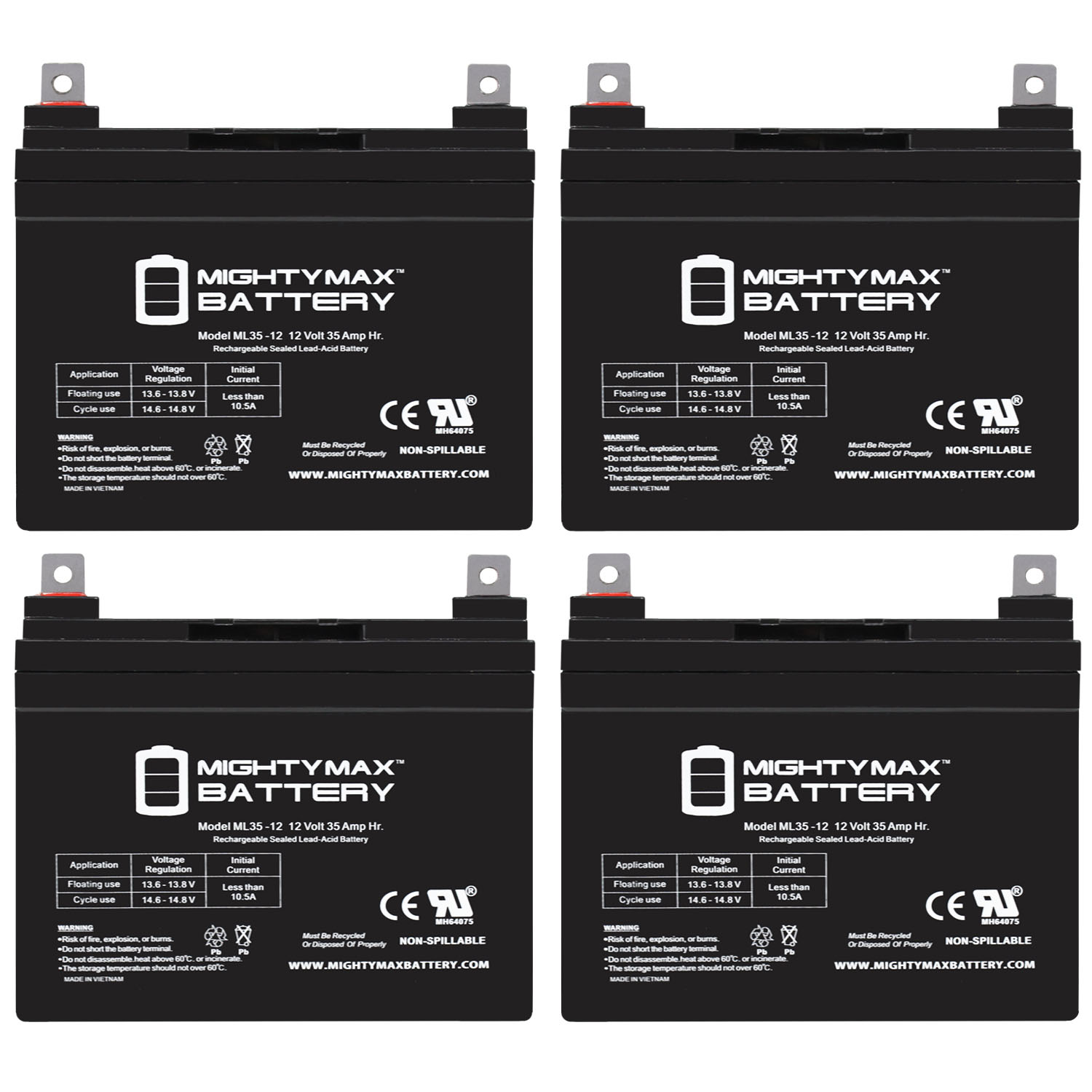 12V 35AH SLA Battery for Doorking 6003 20W Solar Control Box - 4 Pack