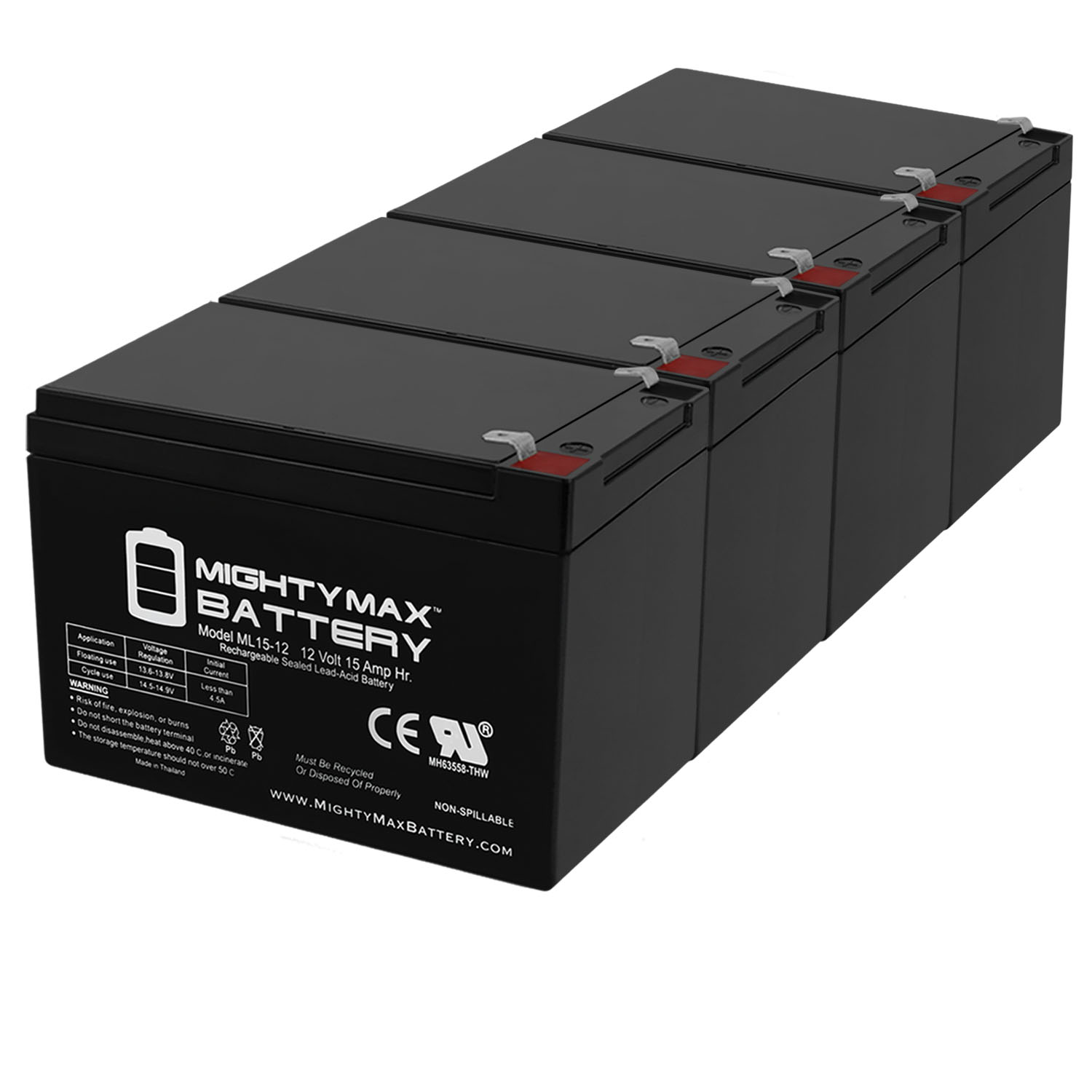 12V 15AH F2 Replacement Battery for Solar Applications - 4 Pack