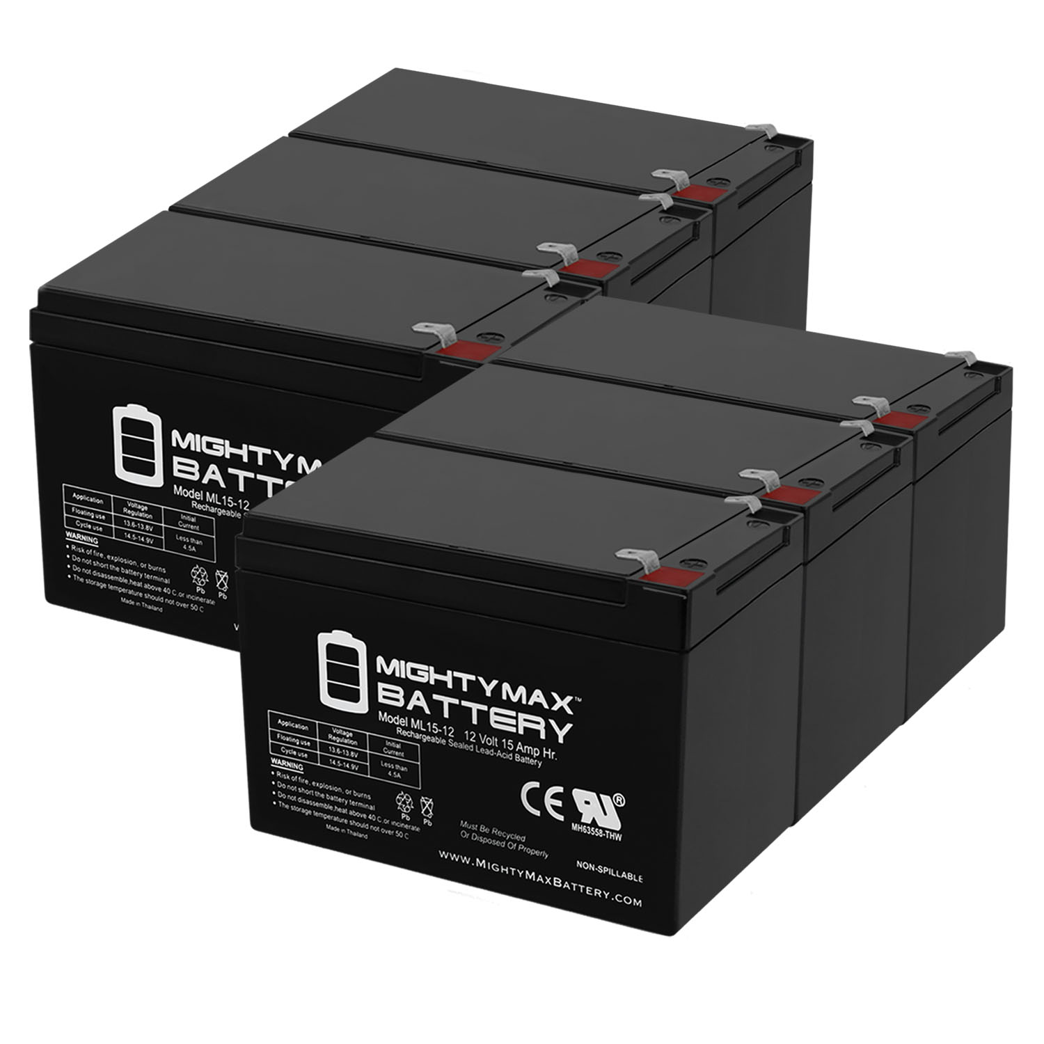 12V 15AH F2 Replacement Battery for Solar Applications - 6 Pack