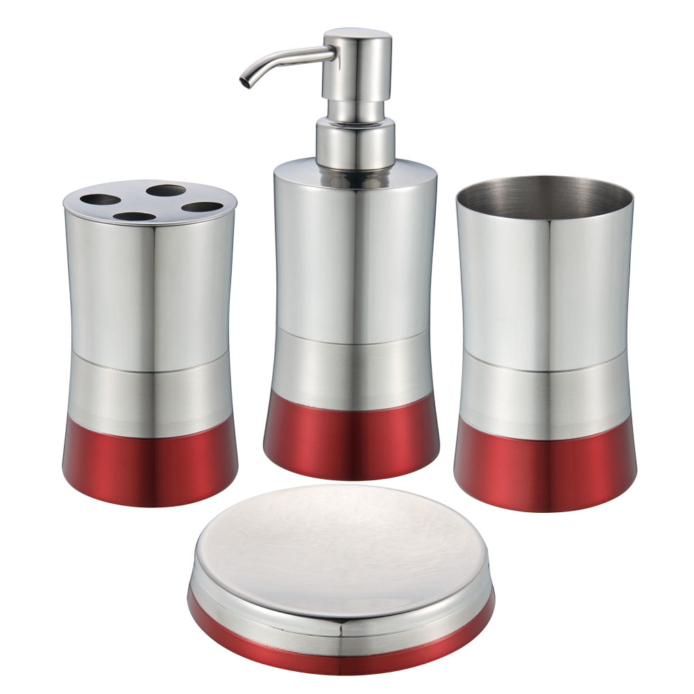 Blue Donuts 4 Piece Stainless Steel Bathroom Set - Red