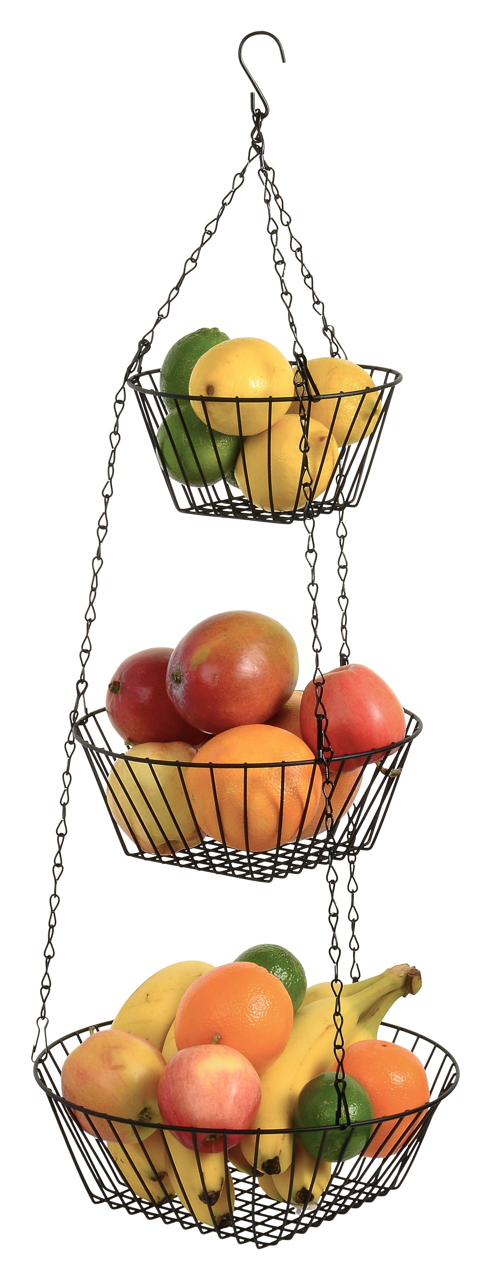Hanging Fruit Basket 3 Tier, Round, For Kitchen, Black, 25 Inches Long