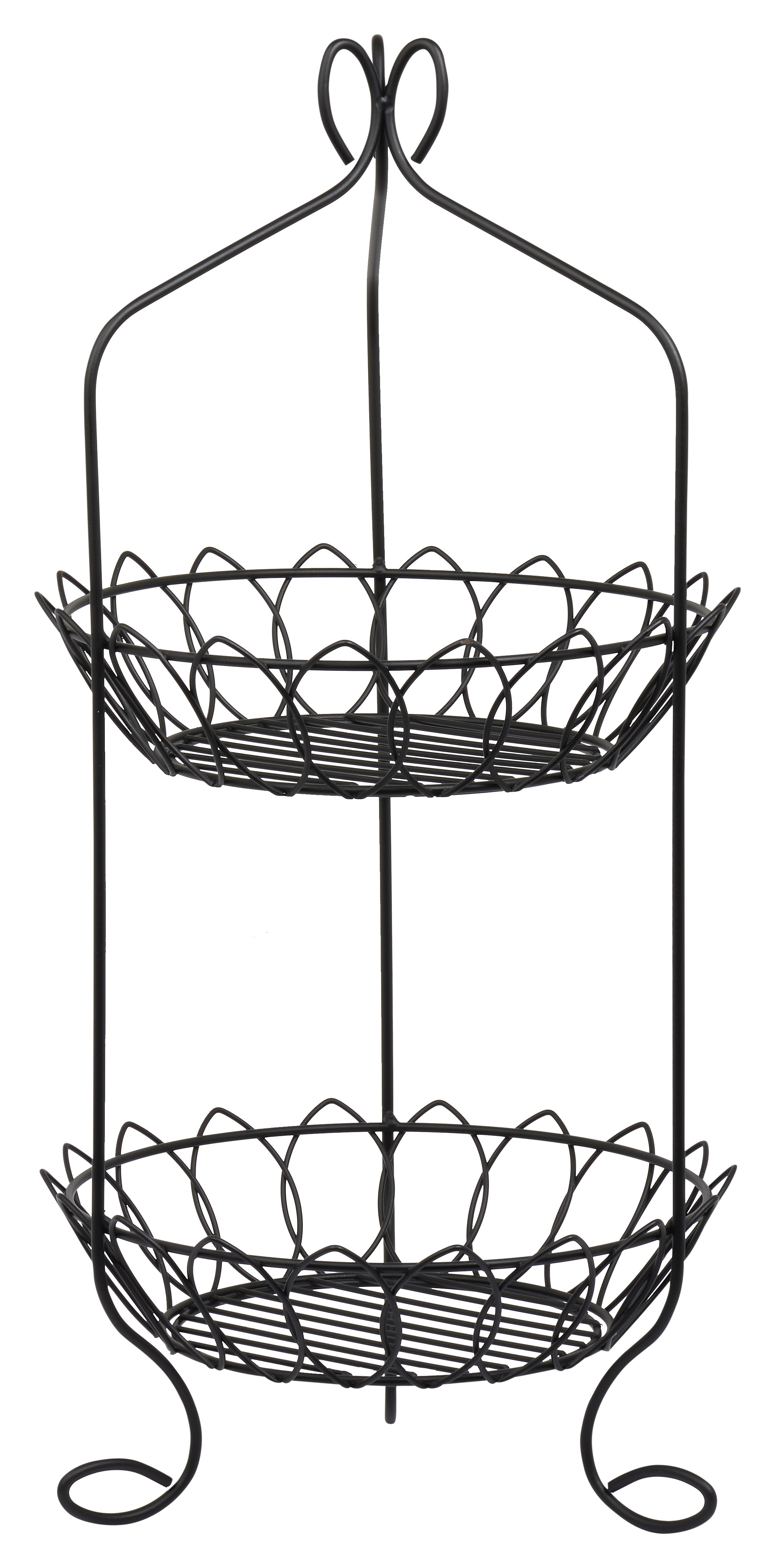2 Tier Basket - High Quality Stainless Steel with Black Powder Coating