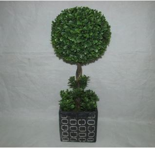 Faux Topiary In Cement Pot #123
