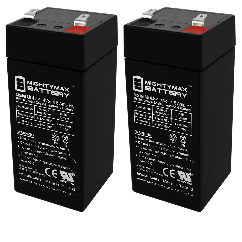4 Volt 4.5 Ah Battery for Zareba 2 Mile Fence Solar Charger - 2 Pack
