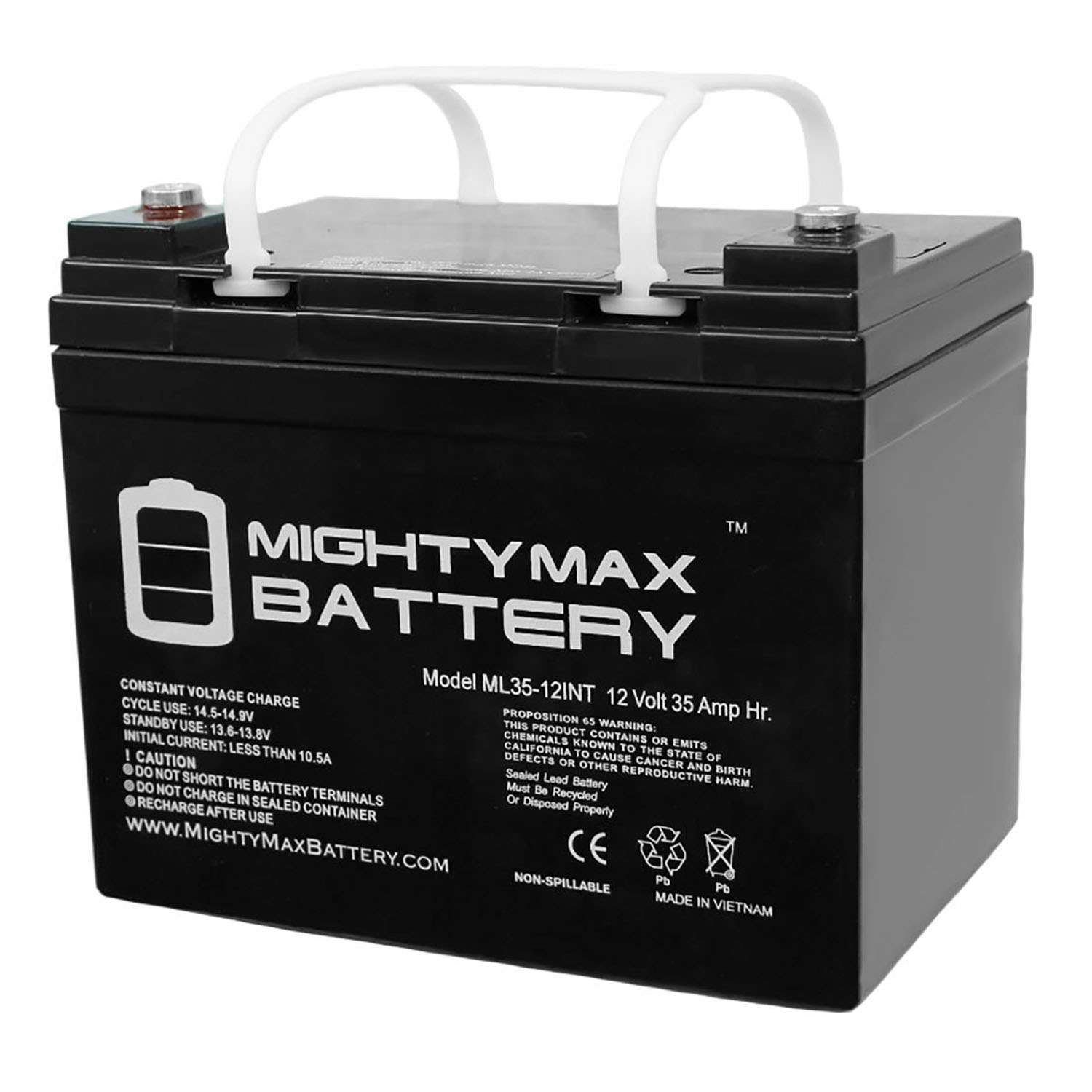 12V 35AH Internal Thread Replacement Battery compatible with Interstate DCM0035 Wheelchair