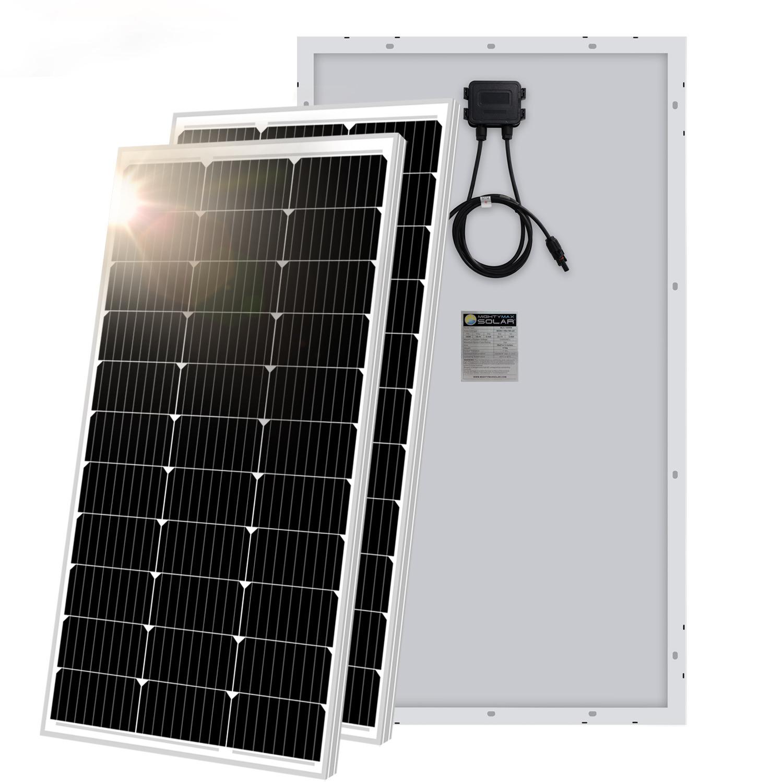 100 Watt 12 Volt Monocrystalline Off Grid Solar Panel - 2 Pack