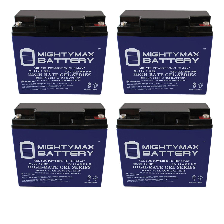 12V 22AH GEL Battery Replaces Light Alarms 8700018 CE15CK - 4 Pack