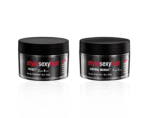 Bundle - 2 Items: Sexy Hair Concepts Frenzy Texture Paste, 1.8 Oz  Control Maniac Styling Wax, 1.8 Oz