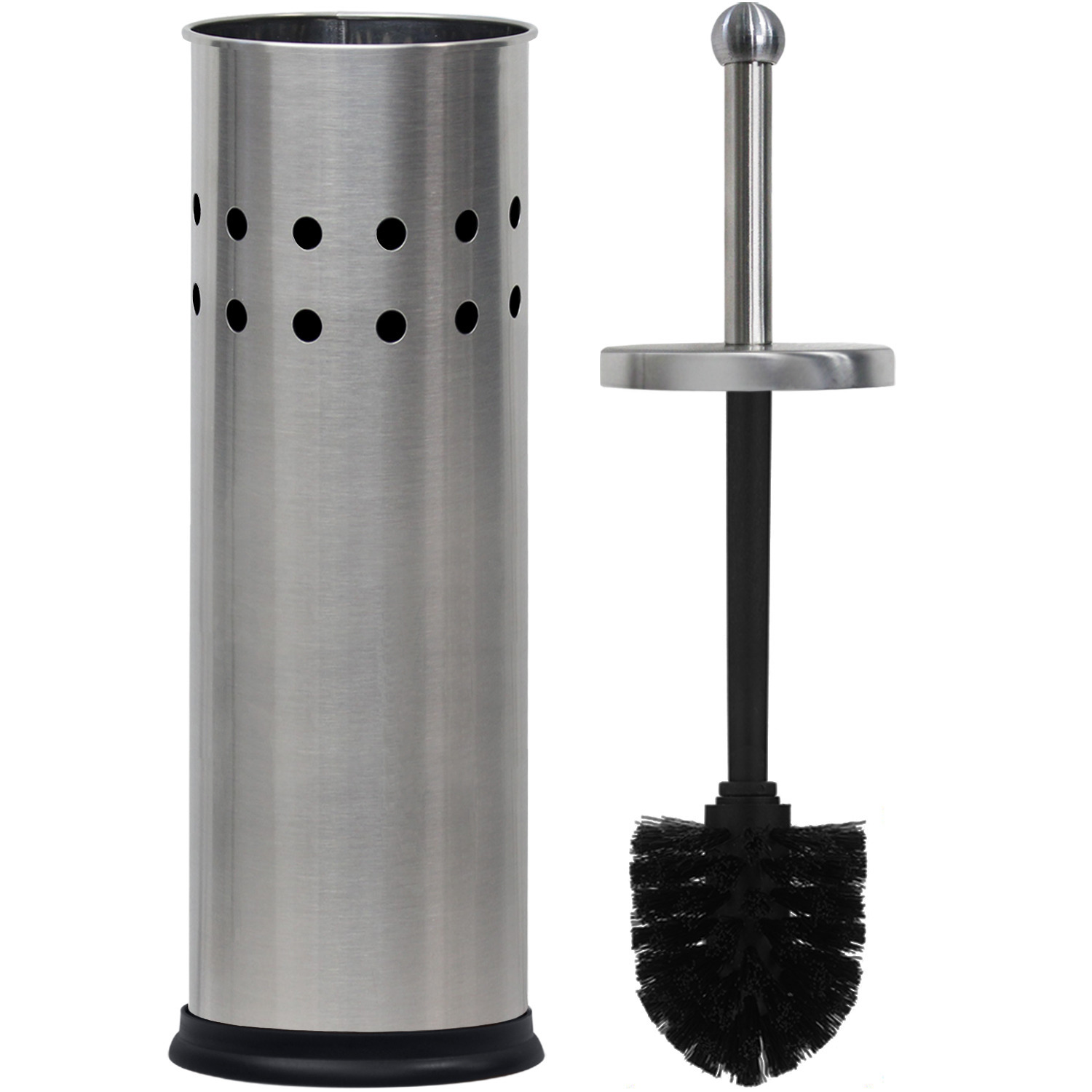 Blue Donuts Vented Stainless Steel Toilet Brush Holder