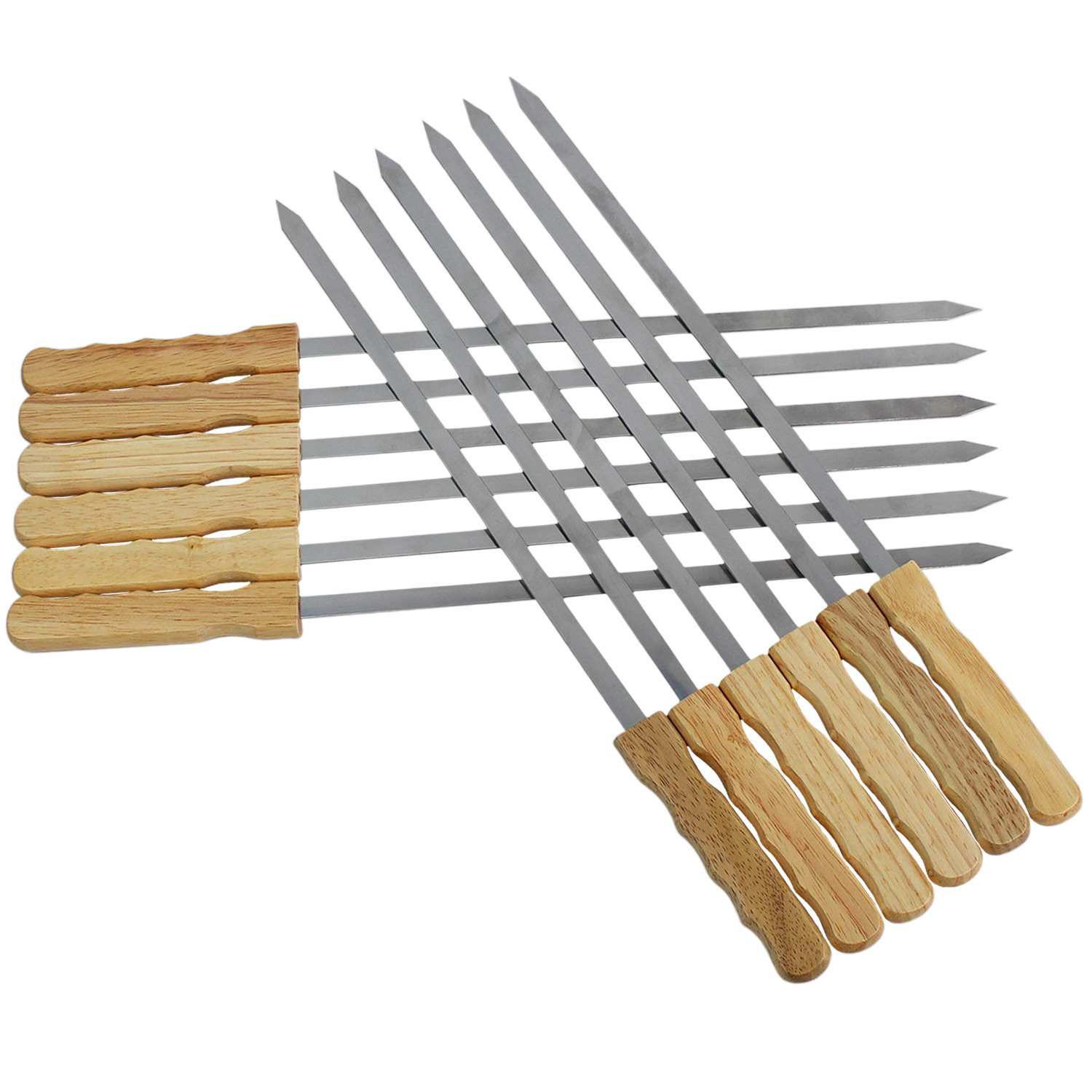 17 inch Brazilian BBQ Skewers Set of 12, Used for Barbecuing Meat, Poultry, Seafood, Vegetables, Cheese, Fruit, Stainless Steel, Barbeque Accessories