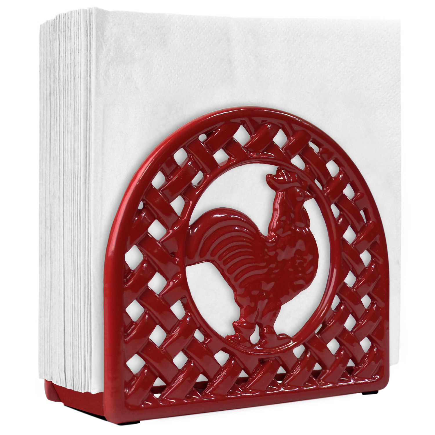 Blue Donuts Cast Iron Rooster Napkin Holder (Red)